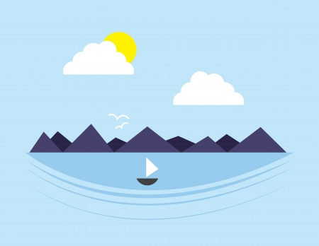 Mountain scene with body of water Stock Vector - 18392359