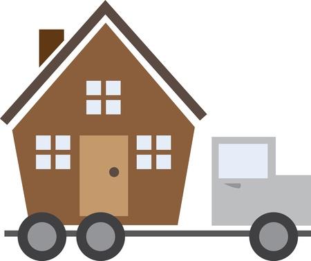 Geïsoleerde huis op een rijdende vrachtwagen