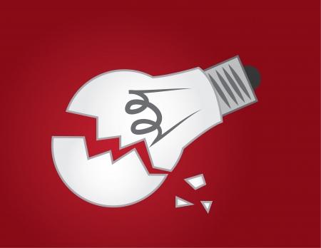赤の背景で壊れた電球