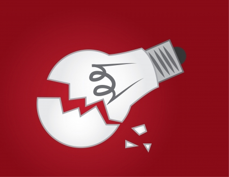 shattered glass: Broken light bulb on red background