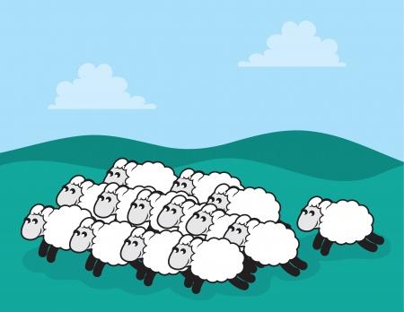 芝生のフィールドで羊の群れ