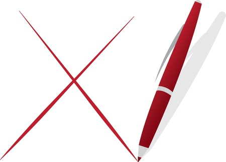 Isolated pen drawing a red X  Ilustracja