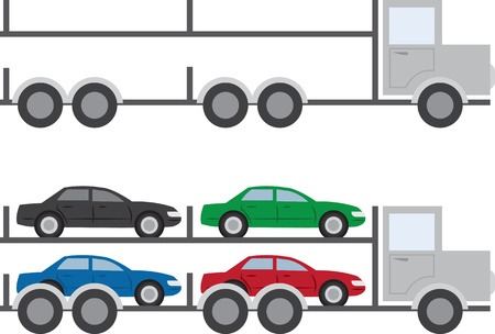 Isolated trucks with and without cars Stock Vector - 18409502