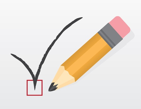 Check mark made by large pencil Stock Vector - 18409506