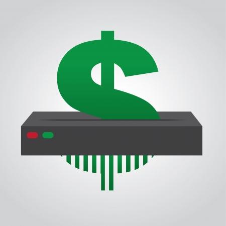 shredder: Dollar sign going through paper shredder