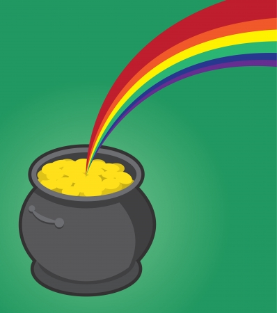 Pot of gold with many coins  Vector