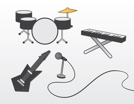 amps: Various band instruments including guitar, drum set, piano and microphone.