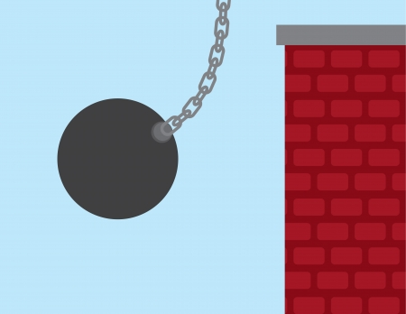 Wrecking ball about to hit brick building   Stock Vector - 18544016