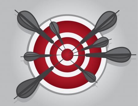 dangle: Bullseye with many gray darts hitting the center