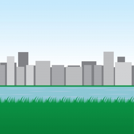 City skyline with water and grassy field  Illustration