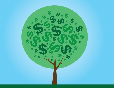 investment metaphor money: Round money tree with dollar signs as leaves