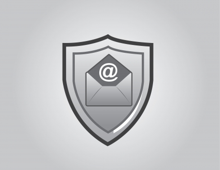 Email shield in front of gray background Stock Vector - 18544026