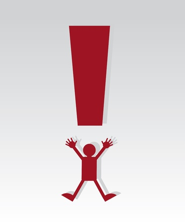 Red exclamation mark figure jumping 版權商用圖片 - 18544012