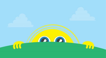 Sun character peeking above the grass