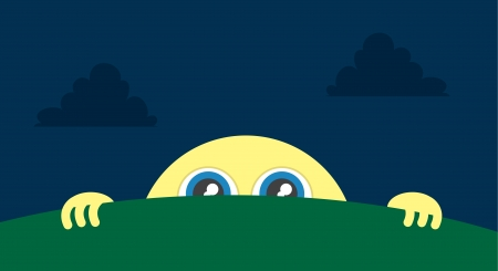 Moon character peeking above the grass Stock Vector - 18544014