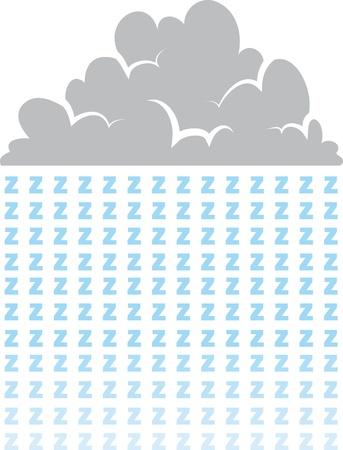 Cloud raining letter z s representing sleep  Stock Vector - 18700617