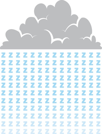 puffy: Cloud raining letter z s representing sleep  Illustration