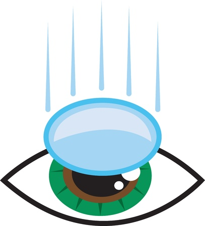 Isolated eye with contact lens falling into place  Ilustrace