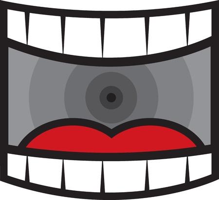 dientes caricatura: Boca grande abierta dibujos animados gritos de ancho