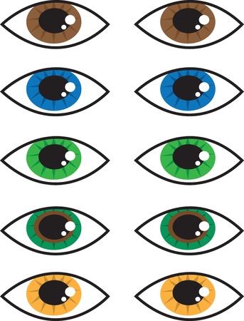 다양한 격리 된 만화 눈 색깔