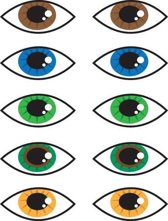 eyes hazel: Various isolated cartoon eye colors