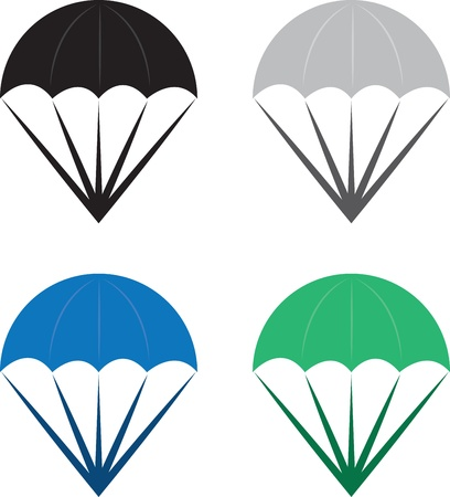 parachute: Isolated parachutes in various colors