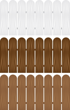 Isolated wooden fences in various colors  Illustration