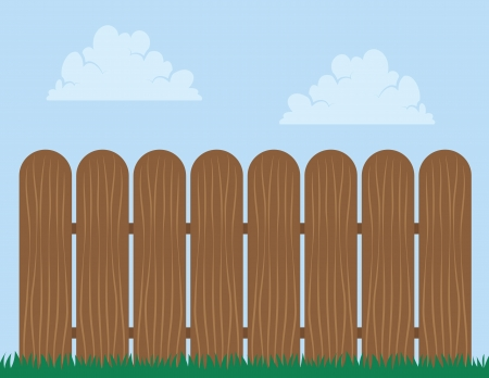 dog pen: Wooden fence with sky background   Illustration