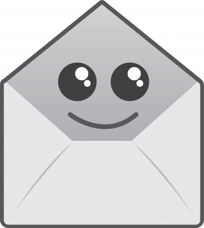 Isolated open envelope character smiling