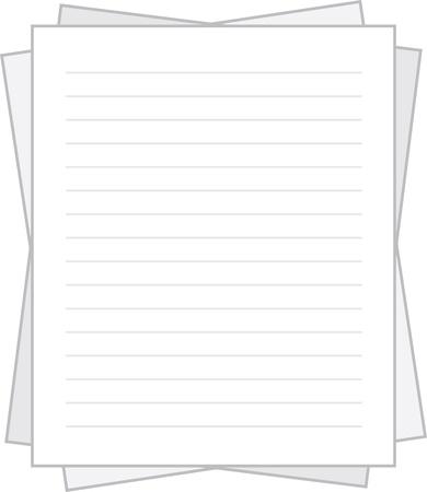 Geïsoleerde bekleed wit papier gestapeld Stock Illustratie