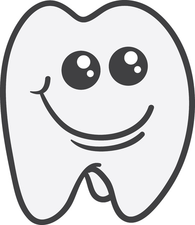 Isolated tooth character smiling face  Vector