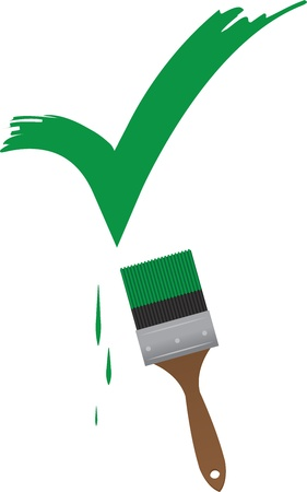 swipe: Paint brush painting a large green check mark  Illustration