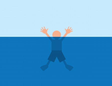 Person helplessly drowning in water