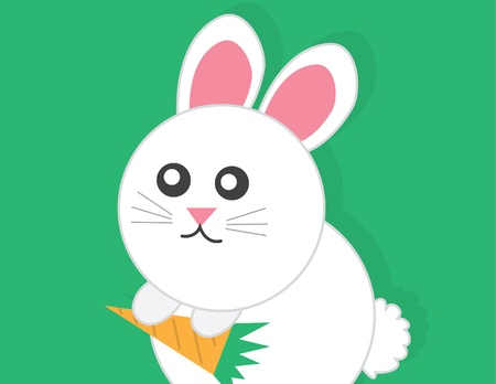 Large cartoon bunny holding carrot  Vector