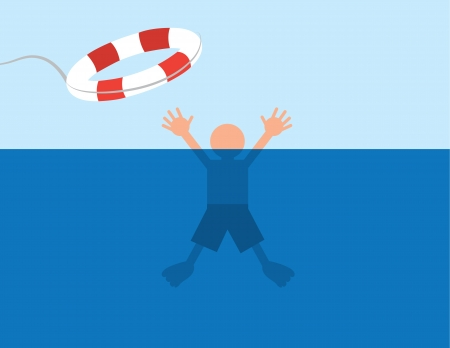 drowning: Person saved after almost drowning in water  Illustration