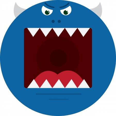 eyes wide open: Large round blue monster with sharp teeth  Illustration