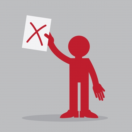 Silhouette figure holding up a piece of paper with x mark