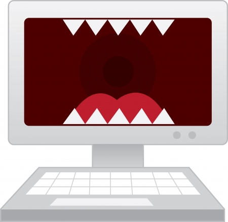 computer screen: Computer with large mouth and teeth