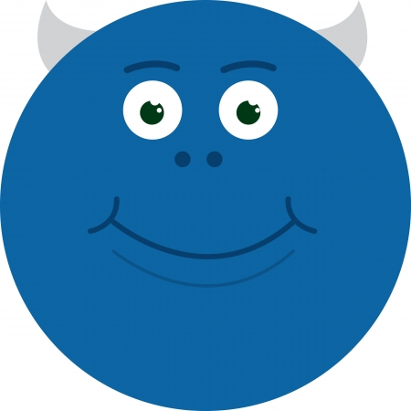 Large round blue monster smiling Imagens - 18982972