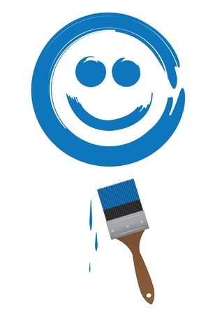 Paint brush painting a large blue smiling face