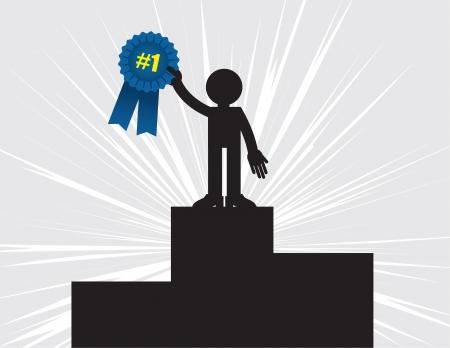 race winner: 1st place winner holding up blue ribbon