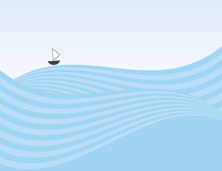 Abstract waves background with small sailboat  Illustration