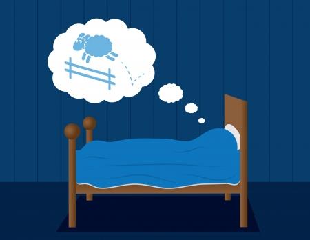 누군가가 점프 양의 꿈과 침대 일러스트