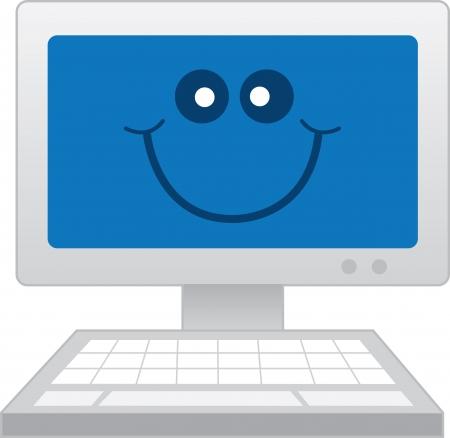 clavados: Ordenador con la cara sonriente feliz Vectores