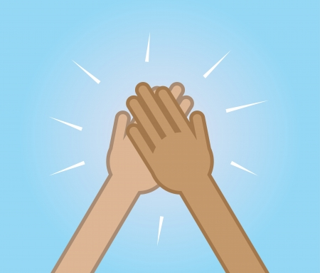 2 つの手をハイタッチ