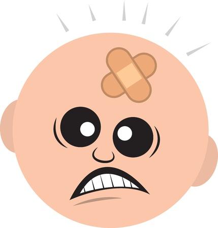 trauma: Isolated man s head with bandage  Illustration