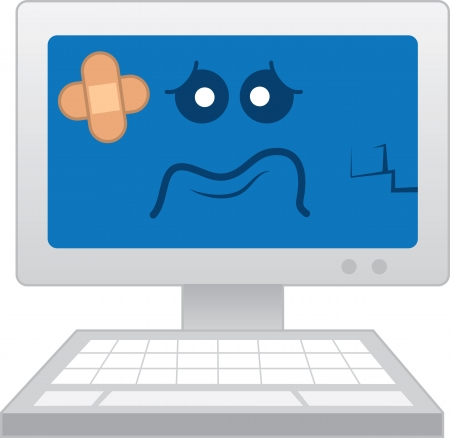 computer repair: Isolated computer with sick cartoon face  Illustration