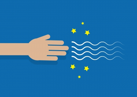 Hand generating magic powers through the fingers  向量圖像