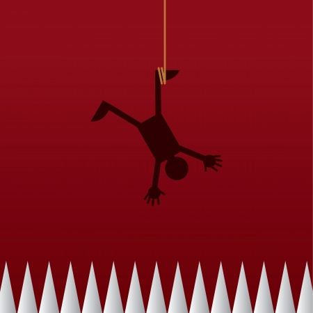 stumble: Figure hanging from a rope upside down above spikes