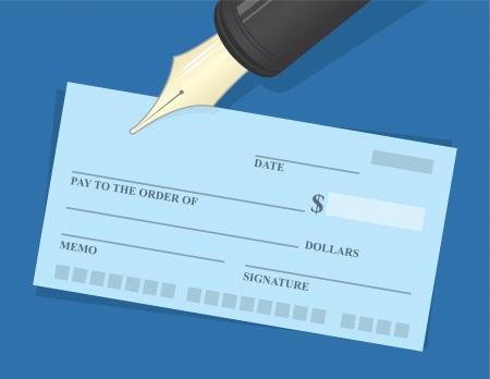 Grote pen zweefde over chequeboek Stock Illustratie